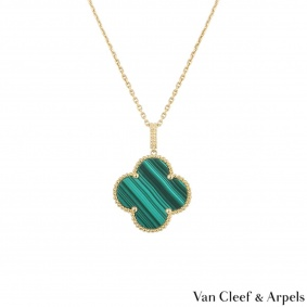 Van Cleef & Arpels Yellow Gold Malachite Magic Alhambra Necklace VCARO3MG00